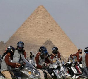 best-Egypt Cross Country motorcycle rally finishes at the Great Pyramids of Giza