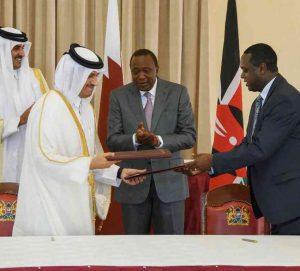 Uhuru Kenyatta with Qatar Emir